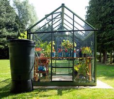 Evika Greenhouse 6 x 8 ft Pale Green Aquarium Shop, Louvre Windows, Garden Site, Finish Strong, Roof Vents, Green Powder, Garden Fencing, Back Gardens, Greenhouses