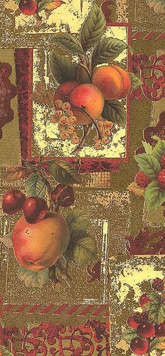 Gilded fruit Christmas paper from Italy