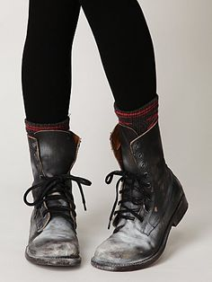 painted distressed combat boots from free people