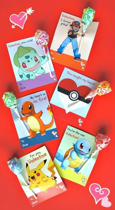 Free Printable Pokemon Valentine's Day Cards - 6 Designs with Lollipops! These free printable Pokemon Valentine's day cards are so cute! It looks like the characters are Pokemon Valentine Cards, Free Valentine Cards, Kinder Valentines, Printable Valentines Day Cards, Valentines For Boys, My Funny Valentine, Valentines Day Party, Valentine Day Crafts, Valentines Card Design