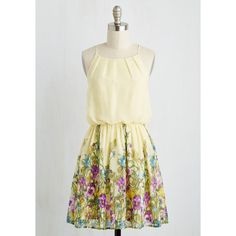Mid-length Sleeveless A-line Meadows on my Mind Dress (540 SEK) ❤ liked on Polyvore featuring dresses, apparel, fashion dress, multi, pastel dresses, a line chiffon dress, white a line dress, floral chiffon dress and floral dress