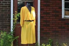 Vintage 1980 Deep Plunging V Neck Bright Yellow by GrantandGarbo