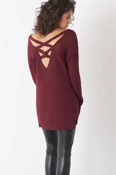 All about this back detail. Burgundy is our favorite color this season!
