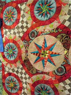 "Close-up of ""Carnivale"" by Jan Soules.  First place winner, small pieced quilt. Photo by Quilt Inspiration."