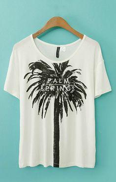 Palm Printing Short Sleeves Casual T-shirt
