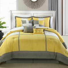Chic Home Dorchester 12 Piece Comforter Set Color: Yellow, Size: Queen