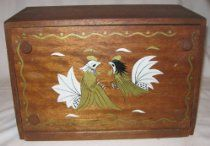 Vintage Wooden Rooster Bread Box