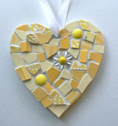 Yellow China Mosaic Heart  Pique Assiette by PamelasPieces on Etsy, $25.00