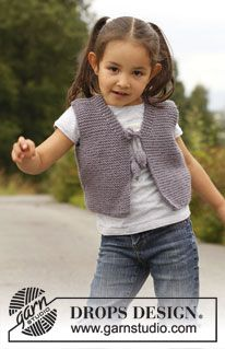 "Small knitted DROPS vest in garter st in ""Nepal"". Size 3 to 12 years. ~ DROPS Design"