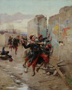 French storming a Prussian barricade, Franco-Prussian War