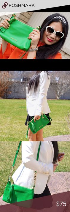 Michael Kors green tassel leather cross body bag Almost brand new. Only used for blog posts. Can wear it as a shoulder bag or cross body bag. No any visible damage or stain at all. From a pet and smoke free family. Michael Kors Bags Crossbody Bags