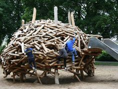 crazy wood climbing structure with slide