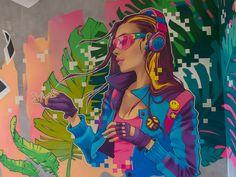 I graffiti interattivi dello studio Brain Mash Mural Art, Wall Art, Wall Murals, Street Mural, Drawing Skills, Graphic Design Branding, Paint Designs, Hostel, Pop Art