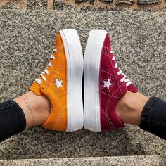 Converse One Star Platform OX Which color – Orange Vs. Converse Rouge, Red Converse, Converse One Star, Converse Sneakers, Sock Shoes, Cute Shoes, Me Too Shoes, Shoe Boots, Converse Bordeaux