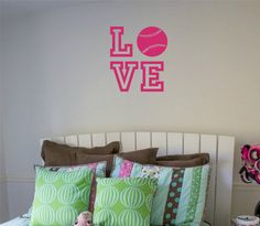 Softball Wall Decal LOVE by NewWaveSigns on Etsy