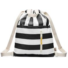 Modern black and white stripe 100% cotton canvas drawstring backpack with handles, adjustable shoulder straps and an open and zippered front pocket finished with an Ultrasuede pull. All our cottons bags are soft, lightweight and foldable for maximum comfort.
