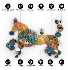 Landscape Design Plans, Landscape Architecture, Conceptual Architecture, Architecture Portfolio, Contemporary Architecture, Interior Architecture, Basic Geometry, Playground Design, Playground Games
