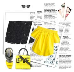 """Summer night"" by samra-dzabija ❤ liked on Polyvore featuring Valentino, J.Crew, Pollini, Les Petits Joueurs, Summer, yellow, black and hottropics"
