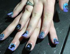 Blue/purple fade with multi free hand design.