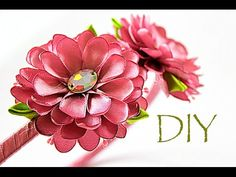 Ободок с Цветами из Атласных Лент | KANZASHI | DIY