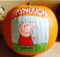 Peppa Pig painted pumpkin