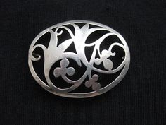 Vintage Open Work Oval Brooch w Ornamented Flowers, silver tone or silver, Art Nouveau, Edwardian on Etsy, Sold