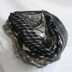 Brown Black and Grey Multiprint Fashion Infinity  Scarf by elgies, $18.00