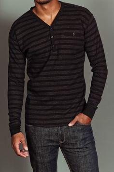 Jordan Craig Striped L/S Henley Black/Charcoal
