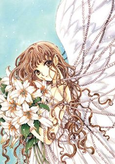 """Kotori Monou with angel wings holding bouquet of white lilies & draped in strands of pearls from """"X"""" series by manga artist group CLAMP."""