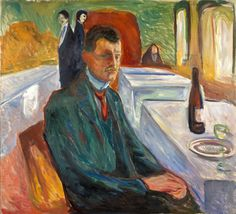 "Edvard Munch, ""Self-Portrait with a Bottle of Wine (Autoportrait à weimar)"" 1906, Munch Museum, Oslo, @Munch Museum"