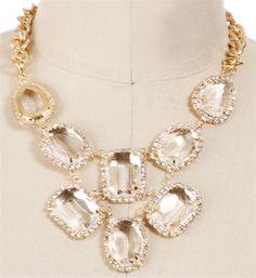 Gold Rhinestone Gem Bib Necklace $14.90
