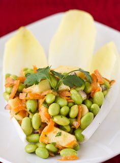 Edamame Salad with Miso Dressing on Endive Leaves