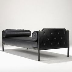 Enameled Metal, Brass, and Leather Daybed designed by Jacques Adnet in the 1950s