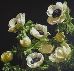 """Mia Tarney """"White Anemones"""" Oil on Linen 