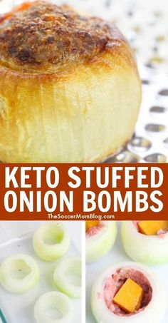 Learn how to make keto stuffed onion bombs! These onion bombs are overflowing with delicious meat and cheese! If you are on the keto diet then this recipe is perfect for your next dinner meal! Try making these keto stuffed onion bombs today. Ketogenic Recipes, Low Carb Recipes, Diet Recipes, Healthy Recipes, Dessert Recipes, Recipes Dinner, Chicken Recipes, Slimfast Recipes, Xmas Recipes