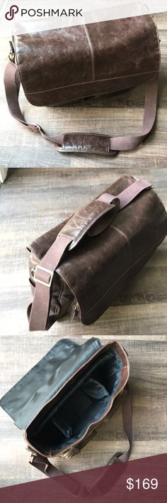 """Kelly Moore messenger camera bag! Kelly Moore DSLR camera messenger bag! This bag has style & function, soft magnetic close flap, weather resistant exterior, holds camera body, flash, lenses, 70-200 lens w/easy access pockets for accessories, cards, etc. Brown. 16x4.5x11.5"""". Professional! Used only a few times because my shoots got more extensive requiring me to travel in rough terrain for desert images, so my gear needed to go in hard cases. This bag is a rare find, get it while you can…"""