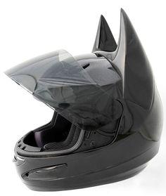 Black Batman motorcycle helmet. A skid lid for fellow geeks.