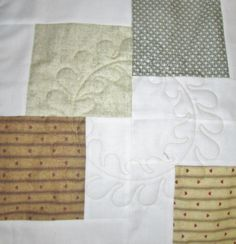 Embroidery Stitching on Tumbling Blocks Quilt