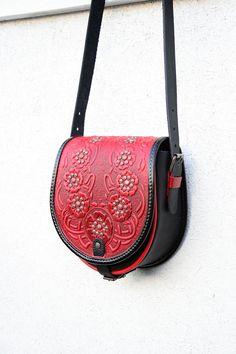 Funda cuero negro rojo bolsa amapolas de hombro por petitJuJu