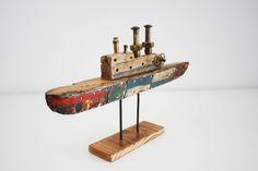 escultura barco de madera y metal artesanal de EstebanCurtiJoyas en Etsy