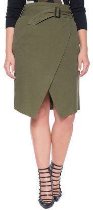 Plus Size Asymmetrical Belted Skirt