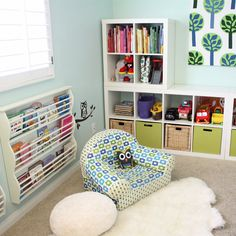 Check out this creativity-inspiring, book-filled playspace shared by two little cuties