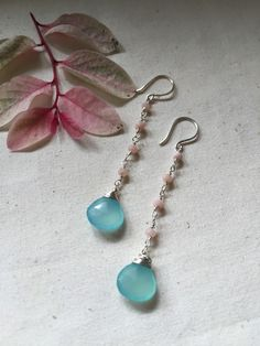 chalcedony earrings pink opal stones wire by TayTayInspired