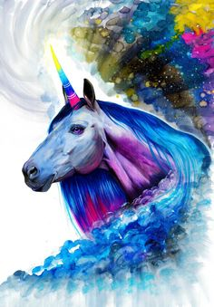 Unicorn signed Art Print by PixieColdArt on Etsy