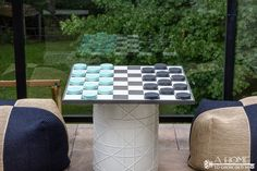 Giant Checkers Game from Mason Jar Lids! Your kids are going to flip when they see this! We spend quite a bit of time outside and have recently been adding to our outdoor game collection. Outdoor Rugs, Outdoor Living, Outdoor Decor, Outdoor Ideas, Giant Checkers, Outdoor Checkers, Outdoor Play, Homemade Fabric Softener, Wooden Play Kitchen