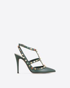 Studs,Leather,Solid colour,Buckle,Leather sole,Narrow toeline,Spike heel,