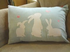 Bunny silhouette pillow made with my cameo