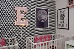 Graphic children's room with splashes of color Nursery Twins, Designer Collection, Scandinavian Design, Color Splash, Room, Kids, Designers, Wallpapers, Bedroom