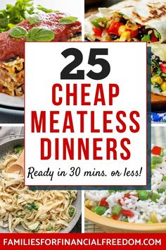 These are easy vegetarian recipes! I love these ideas for cheap dinner recipes! Find 25 quick cheap recipes for a tight budget! Find cheap meals for the family! Cheap and easy vegetarian recipes! Cheap Family Meals, Cheap Easy Meals, Cheap Dinners, Frugal Meals, Quick Easy Meals, Cheap Recipes, Easy Recipes, Healthy Recipes, Inexpensive Meals