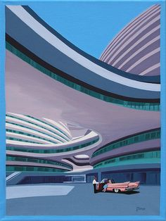 DUBAI HOTEL  Modern hotel by architect Zaha Hadid. Mid century modern style.  This is a limited edition (200 prints) print by Linda Tillman. It is a print of an original gouache painting. Prints are all printed on archival matte paper. They are printed with a Canon iX6500 printer. It has a border. The edges of the composition fade softly into white as they do on the original painting. The print will fit a standard pre-cut matte for easy framing.  The size is 14 x 11 inches  Each print is…